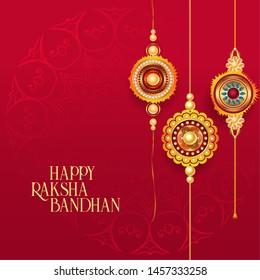 happy raksha bandhan red background with decorative rakhi