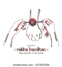 Happy Raksha Bandhan. sketching hands of brother and sisterwith red shine, sister is to tie the knot of rakhi to our brothers hand for taking promise of caring and and lots of love.
