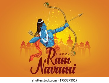 Happy Ram Navami festival of India. Lord Rama with arrow. vector illustration design