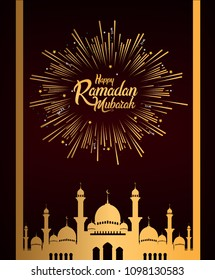 Happy Ramadan Mubarak design with mosque and firwork golden color. vector illustration for ramadan greeting card, poster, and invitation