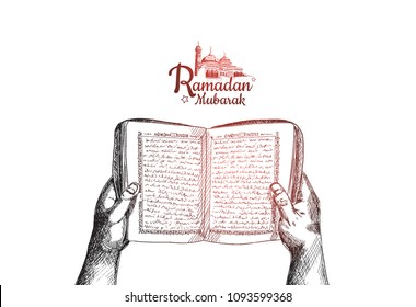 Happy Ramadan Mubarak free hand drawing sketch of hand opening holy book of the quran with mosque. Vector illustration for ramadan celebration