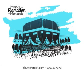 Happy Ramadan Mubarak free hand drawing sketch of holy kaaba with blue brush. Vector illustration for ramadan poster, flyer, greeting card, banner and template