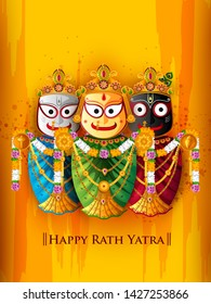 Happy Rath Yatra holiday background celebration for Lord Jagannath, Balabhadra and Subhadra.Vector illustration