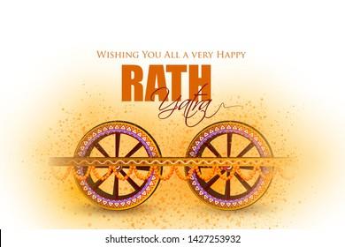 Happy Rath Yatra holiday background celebration for Lord Jagannath, Balabhadra and Subhadra.Vector illustration
