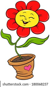 Happy Red Flower - Cartoon Character