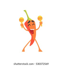Happy Red Hot Chili Pepper Humanized Emotional Flat Cartoon Character With Maracas At The PArty