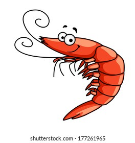 Happy red prawn or shrimp with curly feelers and a smiling face, cartoon vector illustration