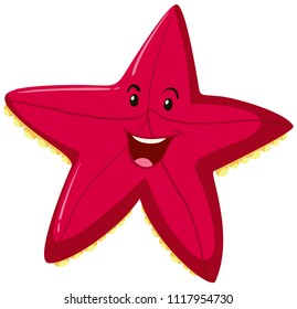 Happy red starfish expression illustration