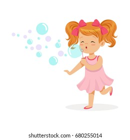Happy redhead girl in pink dress blowing bubbles vector Illustration