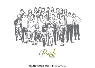 Happy relatives, children, parents and grandparents posing for group photo, men, women and seniors. Society togetherness, big friendly family concept sketch. Hand drawn vector illustration