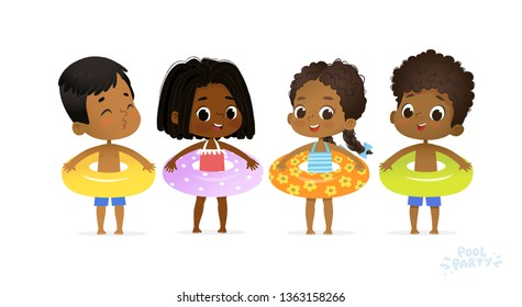 Happy Relax Holiday Children Swimming Pool Party. Swimsuit Boy Character with Yellow Ring on Fun Sea Resort. Afro American Girls Relax Sunny Vacation Flat Cartoon Vector Illustration.