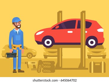 Repairman stock images royalty free images vectors for Garage happy car