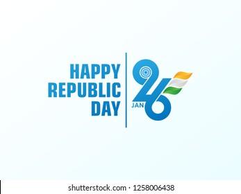 Happy Republic Day background. 26 January logo symbol. vector illustration