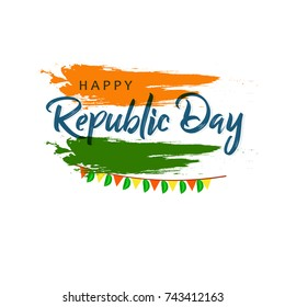 Happy Republic Day background design, 26th January background Vector Illustration based on Tri Color grunge.