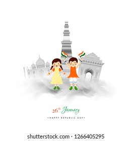 Happy Republic Day celebration concept with illustration of Cute kids and famous Indian Monuments on white background.