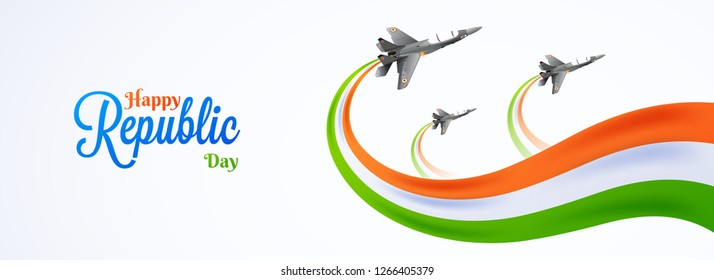 Happy Republic Day celebration concept with illustration of fighter jets and wavy Indian flag colors on white background.
