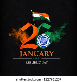 Happy Republic Day celebration  poster, or greeting card design, brush effect background with text 26 January, Ashoka Wheel on indian flag,