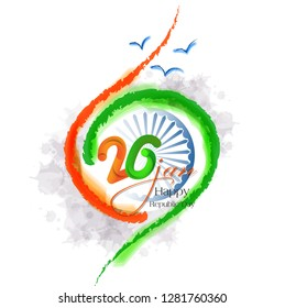 Happy Republic Day celebration poster, or greeting card design, background with text 26 January, Ashoka Wheel on indian flag, - Vector