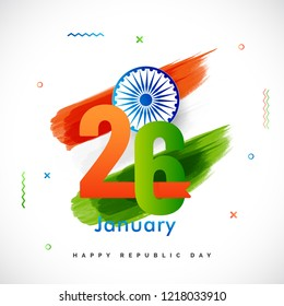 Happy Republic Day celebration template or greeting card design with text 26 January, Ashoka Wheel on indian flag color background.