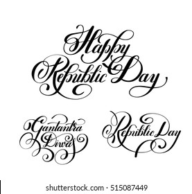 Happy Republic Day handwritten ink lettering set inscriptions for indian winter holiday 26 January, calligraphy collection vector illustration