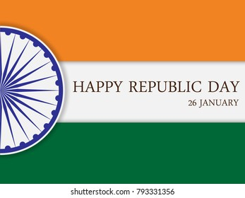 Happy Republic Day of India. 26th January. Vector illustration.