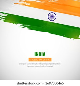 Happy republic day of India with brush style watercolor country flag background