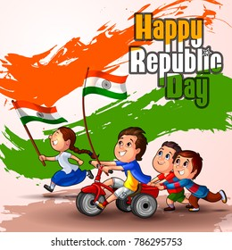 Happy Republic Day of India celebration on 26th January. Vector illustration