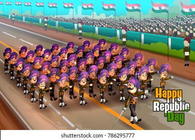 Happy Republic Day of India celebration on 26th January. Vector illustration