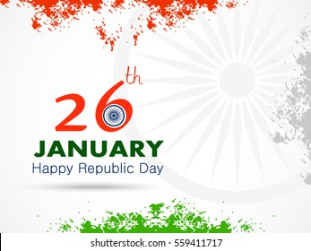 Happy Republic day of India festival With Grange for Elegant Indian flag theme, Good Concept, Beautiful Greeting Card Design and Background Vector Illustration...