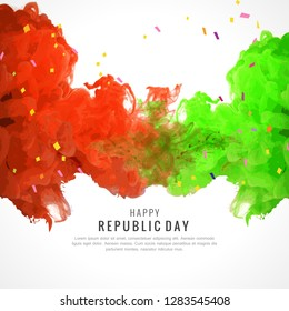 Happy Republic Day poster, or greeting card design, background with text 26 January, Indian flag, - Vector
