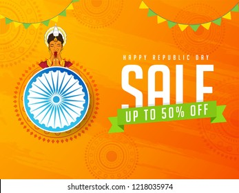 Happy Republic Day Sale poster design with young lady in welcome pose, Ashoka Wheel and 50% discount offer on orange floral background.