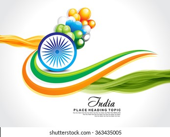 happy republic day wave background with ashok chakra vector illustration