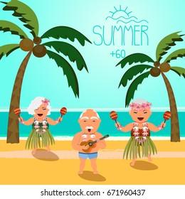 Happy retired people. Vector illustration of seniors on beach.