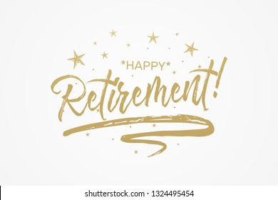 Happy Retirement card, banner. Beautiful greeting poster with calligraphy gold text word ribbon star. Hand drawn design elements. Handwritten modern brush lettering isolated background vector