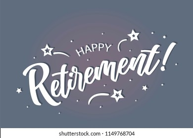 Happy Retirement lettering card, banner. Beautiful greeting scratched calligraphy white text word stars. Hand drawn invitation print design. Handwritten modern brush blue background isolated vector