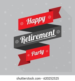 happy retirement, logo, banner design with red ribbon