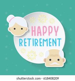 happy retirement, logo desugn, vector illustration of the grandparents