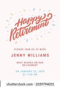 Happy retirement. Party invitation template.
