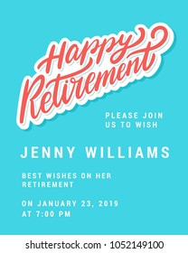Happy retirement. Party invitation template.