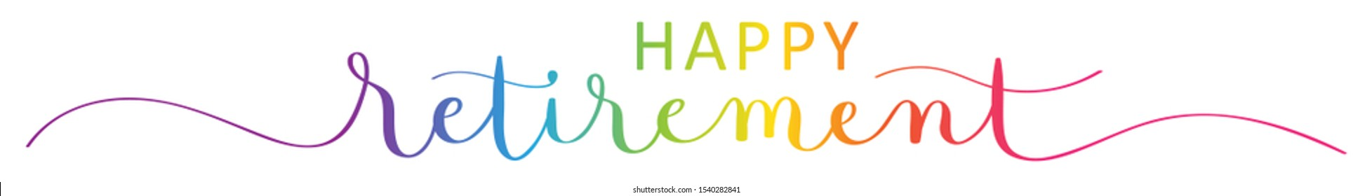 HAPPY RETIREMENT rainbow-colored vector brush calligraphy banner with swashes