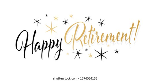 Happy retirement typography with black and gold stars