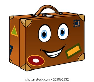 Happy retro well travelled cartoon suitcase with a smiling face and travel labels isolated on white for tourism or journey design