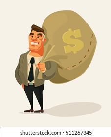 Happy rich businessman character hold big money bag. Vector flat cartoon illustration