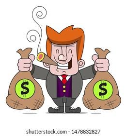 Happy Rich Man With Bags Of Money. A Billionaire Businessman Or The Banker Smiling. Success In Business. Flat Vector Illustration