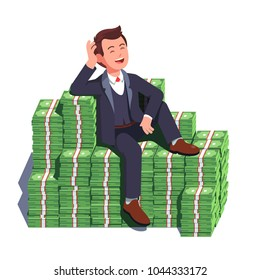 Happy rich man sitting confidently on big heap of stacked money dangling his leg. Billionaire business man or smiling banker leaning on a huge cash pile. Business success. Flat vector illustration
