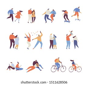 Happy romantic couples walking together. Pairs of men and women on date. Active couple cycling, dancing, skateboarding. Young family with kid. Flat cartoon characters isolated on white background.