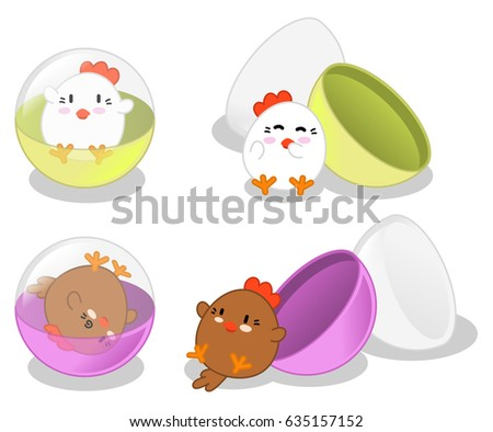 Happy roosters in gashapon capsules closed and open (set of for vector illustrations)
