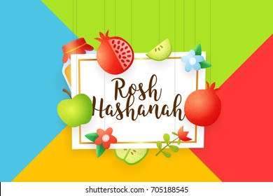 Happy Rosh Hashanah background banner, label and elements for Rosh Hashanah (Jewish New Year). Vector template.