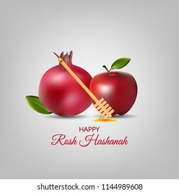 Happy Rosh Hashanah greeting card, poster and template illustration. jewish new year vector illustration.