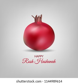 Happy Rosh Hashanah greeting card and template design on grey background. jewish new year vector illustration.